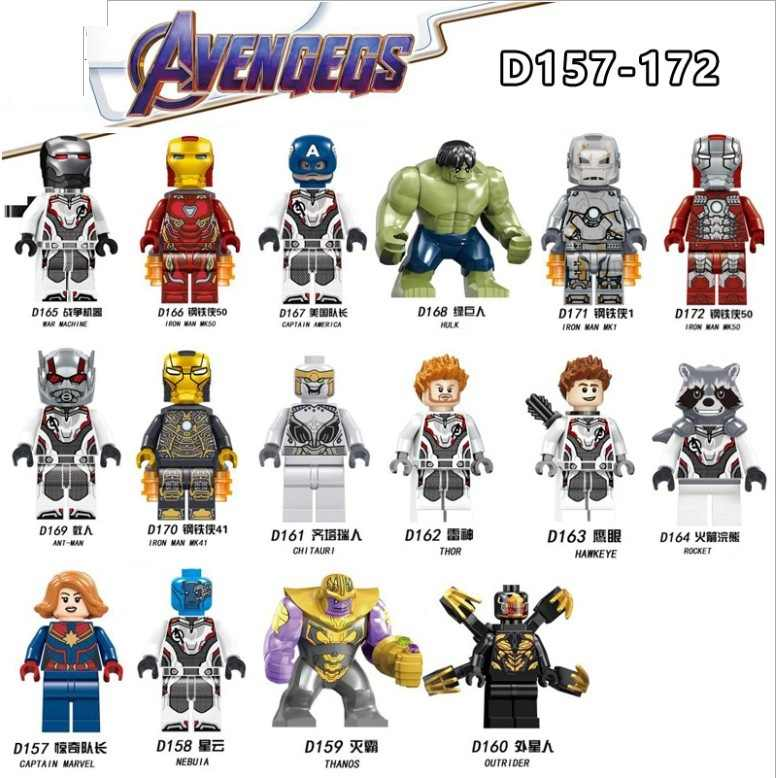 Legoed Cartoon Avengers 4 Superhero Movie Captain Marvel THANOS hulk thor outrider Building Blocks Figures Children Gift Toys