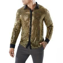 Nightwear Party-Shirt Regular-Fit Long-Sleeve Singer Sexy See-Through Mens Glitter