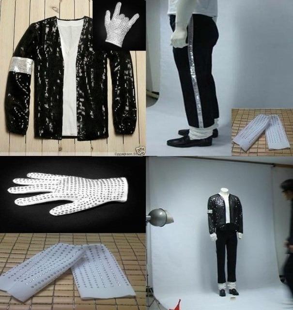 Kids Adults Michael Jackson Billie Jean Suits Sequin Mj Jacket Pants Glove Socks Show Black Sequined Pacthwork Cosplay Costume Movie Tv Costumes Aliexpress