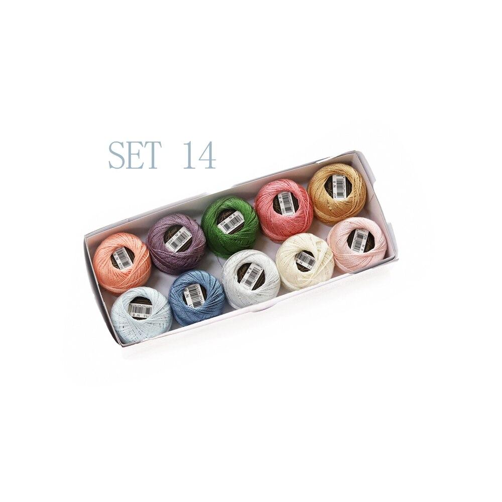 Размер 8 жемчужный хлопок крючком нить 43 ярдов Двойной Мерсеризованный длинноштапельный Египетский хлопок 79 DMC цвета доступны 10 коробка с шариками - Цвет: SET 14