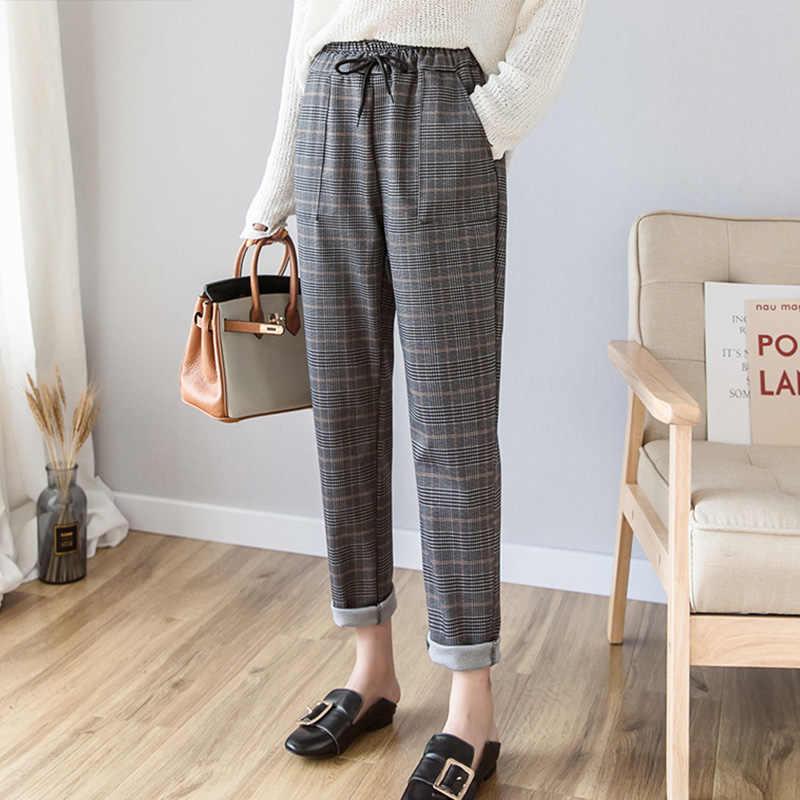 2019 Primavera Verano nueva moda mujer vintage clásico mujer plaid pantalones cintura elástica casual harem Pantalones pantalon