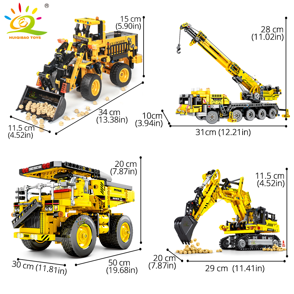 Building blocks huiqibao engineering bulldozer crane technic dump truck city construction vehicle car toy for children kids gift