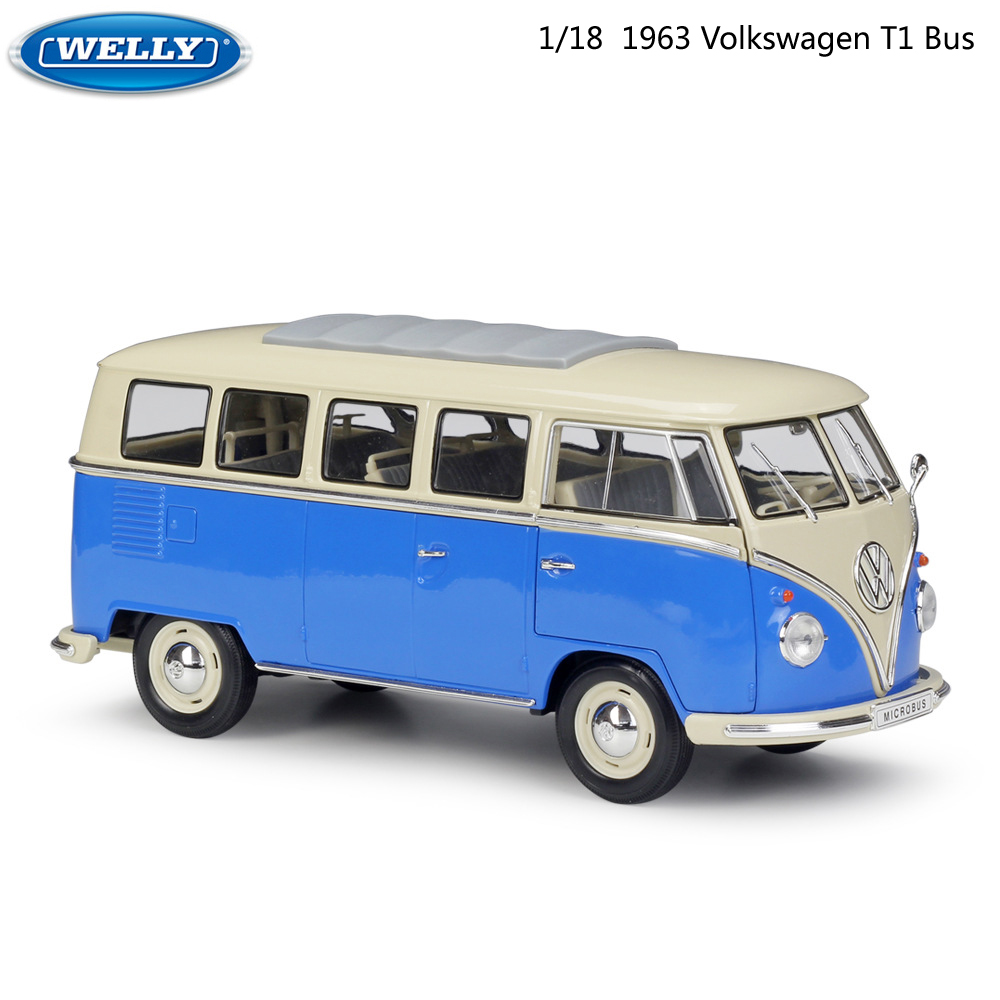 WELLY Diecast <font><b>1:18</b></font> Scale High Simulator Retro <font><b>Car</b></font> <font><b>Model</b></font> <font><b>Car</b></font> 1963 Volkswagen T1 Bus Metal Alloy Toy <font><b>Car</b></font> For Kids Gifts Collection image