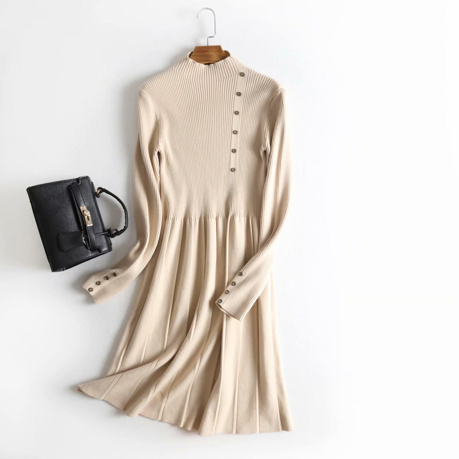 32-Ding-121 2018 hiver nouveau Style col montant à manches longues en laiton boucle décoration taille étreinte robe en Jersey femmes