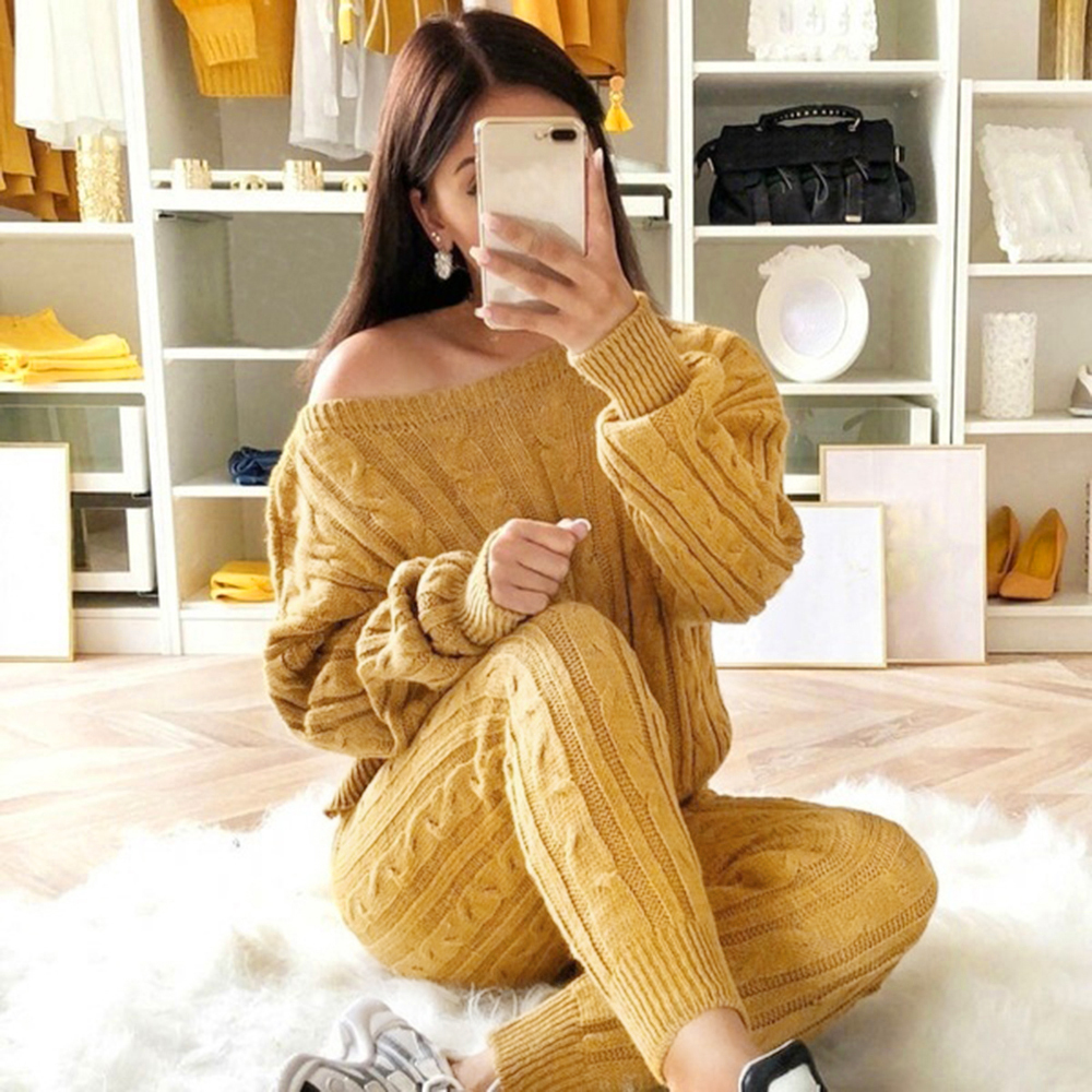 Women 2 Piece Set Christmas Tracksuit Autumn Winter Knitted Set Ladies O Neck Pullover Solid Color Tops+Pants Set Outfit