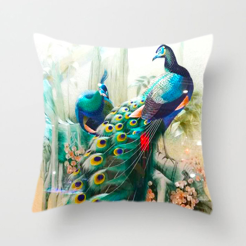 Bird Cushion Cover Classical Peacock Feather Pattern Throw Pillow Case Nordic Living Room Leisure Decoration