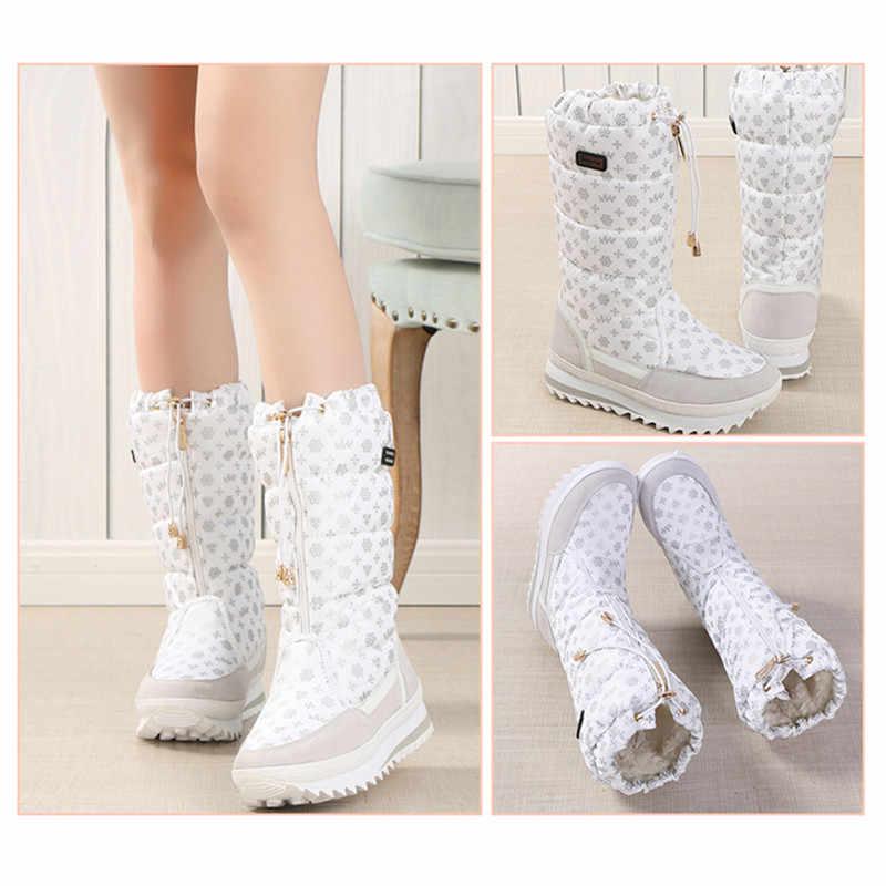Kadın botları kış ayakkabı kadın platformu kalın peluş sıcak su geçirmez yüksek kar botları botas mujer boyutu 35-42
