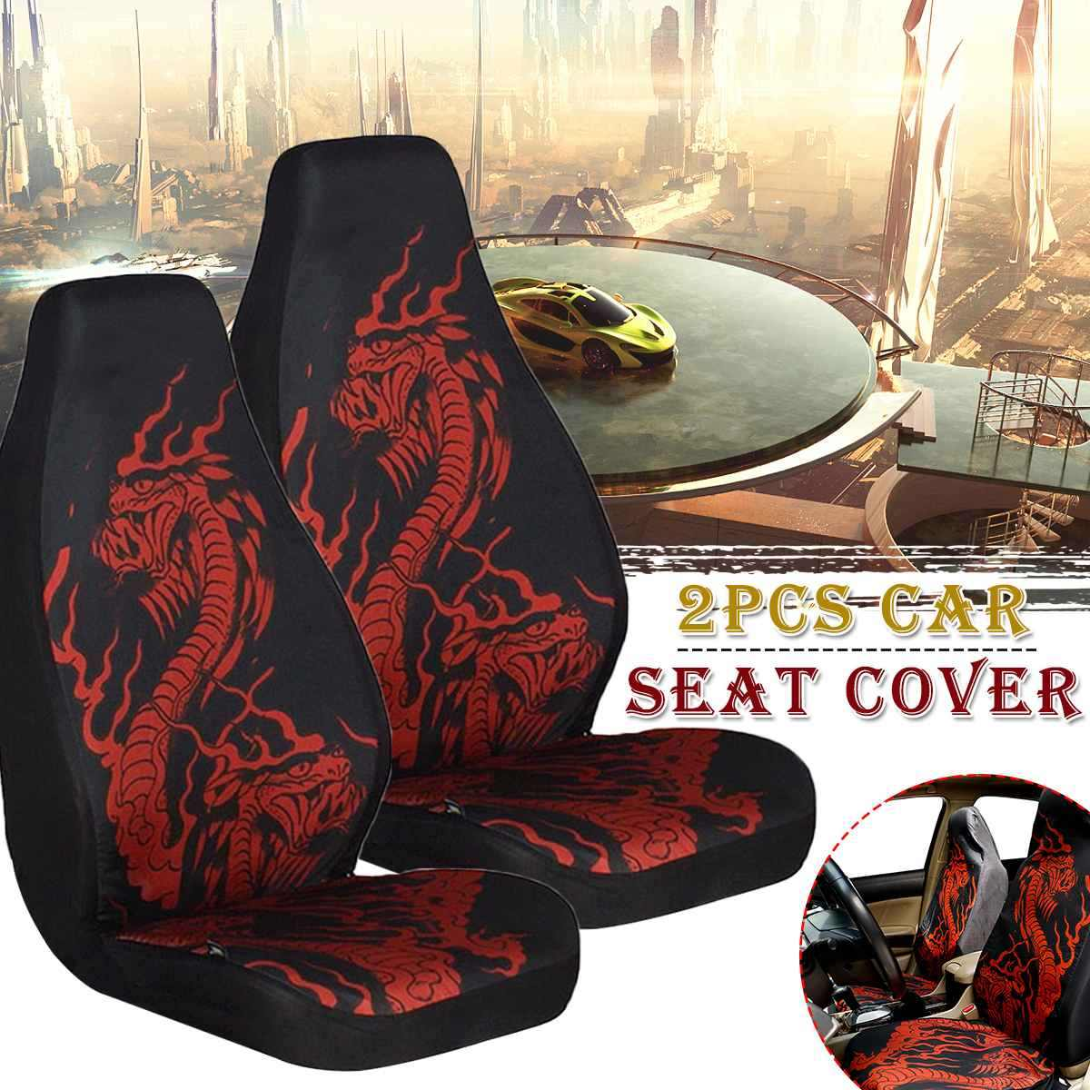 2Pcs Black Polyester Fiber Skull Pattern Car Front Seat Covers Protector Cushion