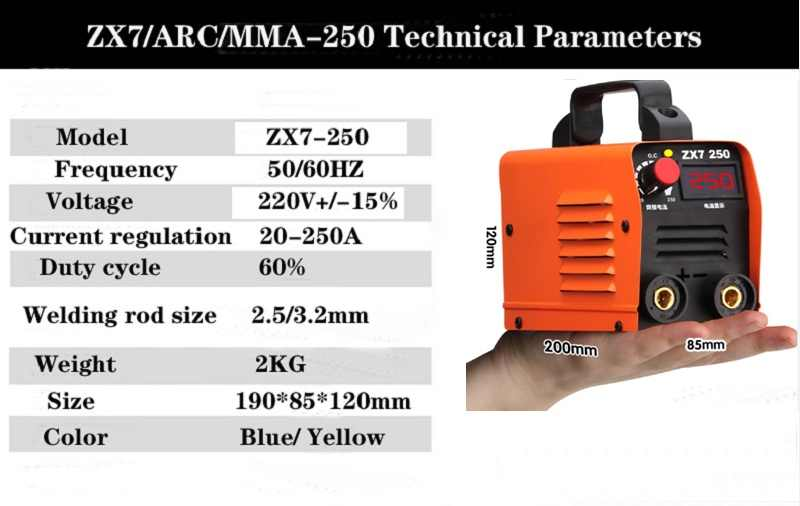 ZX7 Series DC INVERTER ARC Welder 220V IGBT MMA 250 Amp สำหรับเริ่มต้นน้ำหนักเบาที่มีประสิทธิภาพ