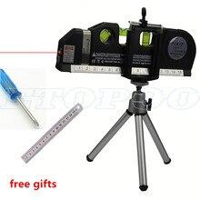 4 в 1 инфракрасный лазерный уровень перекрестный Лазерный уровень Лазерный Горизонтальный Вертикальный инструмент уровня духов с 2,5 м измерительной лентой бесплатный подарок