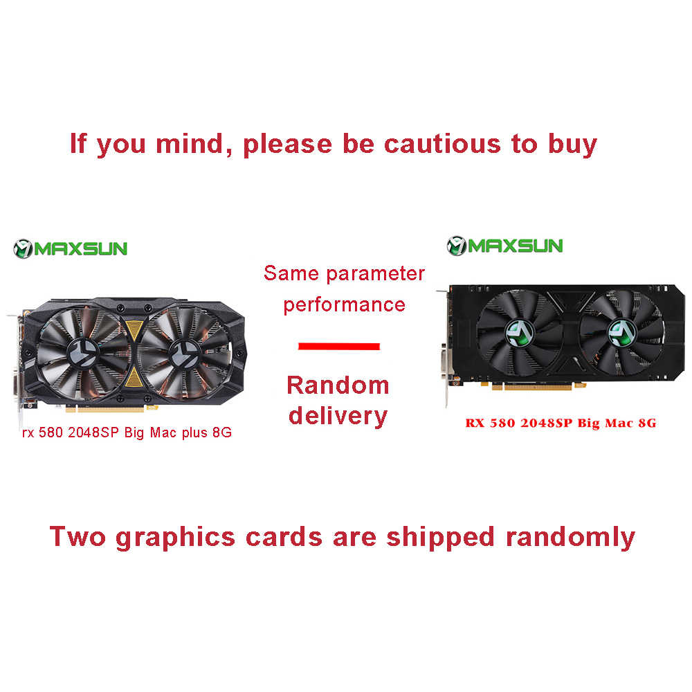 Maxsun Видеокарта RX 580 2048SP Big Mac 8G Card Đồ Họa GDDR5 256bit AMD 7000MHz 1168 MHz-1284 MHz HDMI + DP * 3 + DVI RX580 Card
