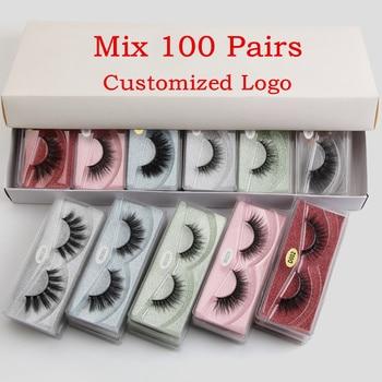 Wholesale Eyelashes 20/30/50/100pcs 3D Mink Lashes Natural False Makeup In Bulk