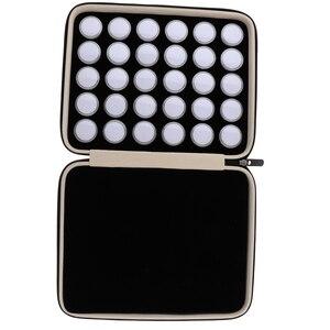 Image 2 - 60 חתיכות יהלומים מיני תצוגת תיבת חן אחסון מקרה עם נייד עור מפוצל תיק נשיאה
