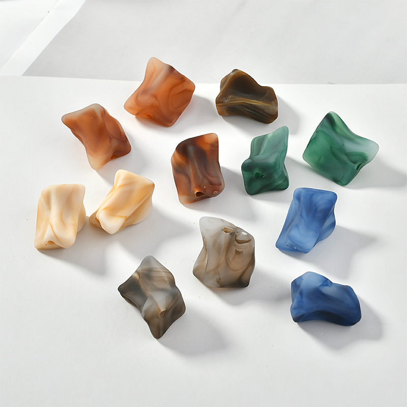 Imitation Stone Color Irregular Shaped Resin Spray Skin Smudge Straight Hole Diy Earrings Jewelry Material Accessories