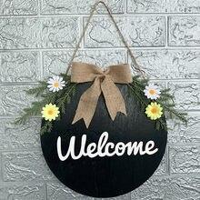 Powitanie na drzwi wieszak sztuczny kwiat liść okrągłe, wiszące tagi na dekoracja drzwi frontowe drzwi wieniec wisiorek znaki Home Decor