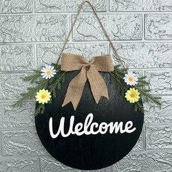 Welcome Door Hanger Artificial Flower Leaf Round Hanging Tags For Door Decoration Front Door Wreath Pendant Signs Home Decor