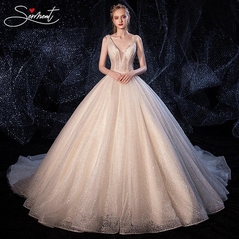 OLLYMURS Luxury Wedding Dress 2019 V-neck Lace Up  Royal Train 100cm Sequin Cloth Rhinestone Free Custom Made Plus Size