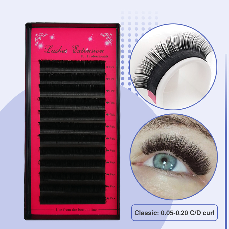 LUCKY LASH 1tray Silk Eyelashes Individual 3D Eyelashes Russian Volume Lashes All Size B/C/D Curl Fake False Mink Eyelash
