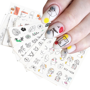 16pcs Stickers for Nails Abstract Image Women Face Water Sliders Manicure Nail Art Decorations Polish Sticker Set LASTZ1018-1033