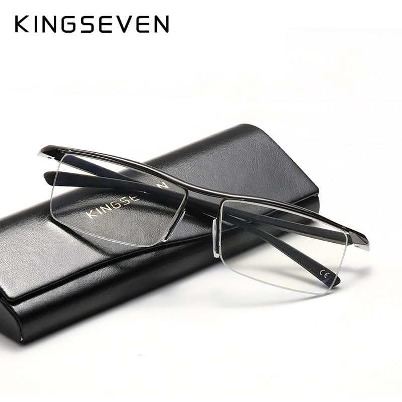 KINGSEVEN tasarım erkekler Anti mavi alaşım optik gözlük çerçeve Ultralight kare miyopi reçete gözlük Antiskid silikon