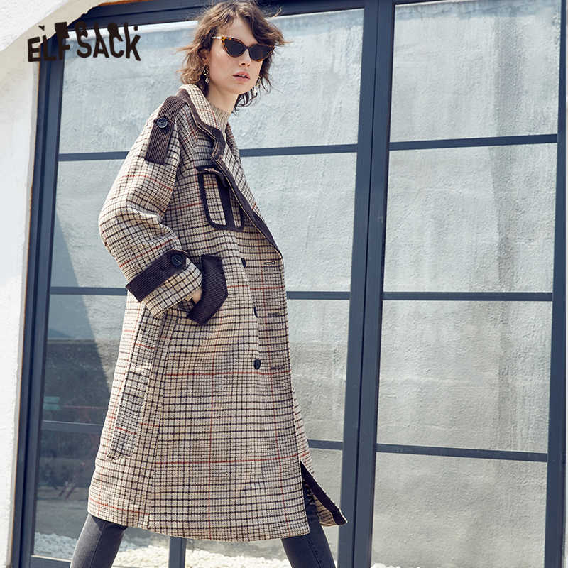 ELFSACK Plaid British Wool Jacket Long Wool Coat Women Elegant Coats 2019 Winter Graphics Casual Streetwear Office Ladies Coats
