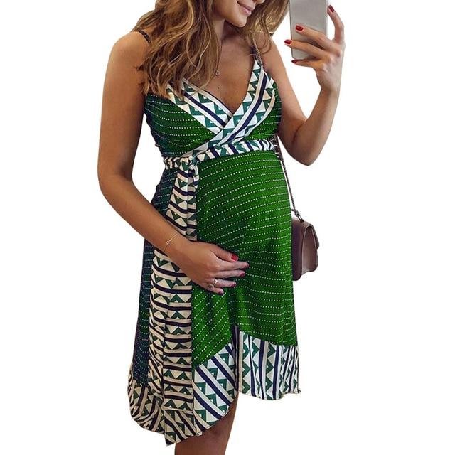 Plus Size Women dress Maternity Lady Geometry V-neck Summer Sleeveless Pregnant Mother Dresses Comfortable
