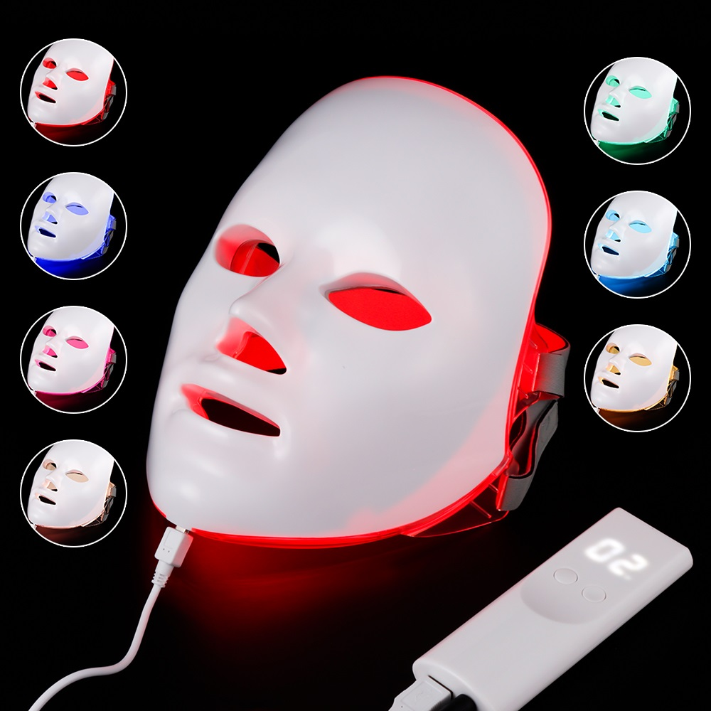 7 Colors Light LED Facial Mask Skin Rejuvenation LED Mask Phototherapy Face Care Beauty Anti Acne Whitening Wrinkle Removal Mask