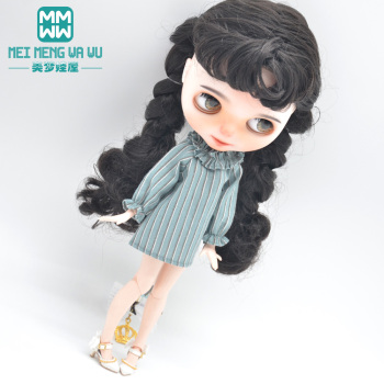 Fits Blyth Azone OB23 OB24 1/6 doll accessories Fashion Striped Dress high heels Girl's gift image