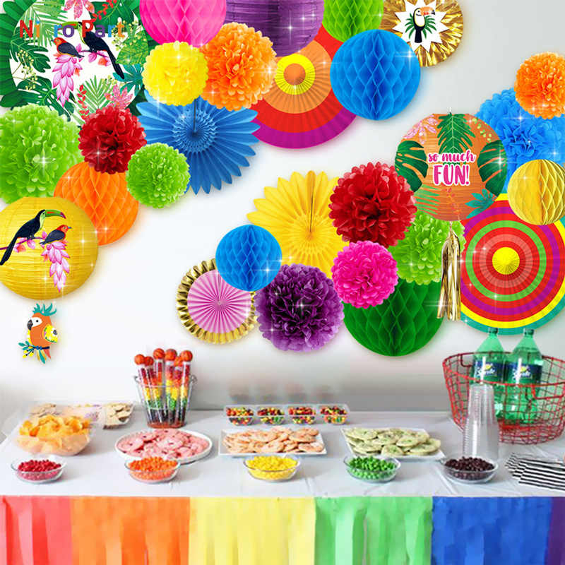 Nicro 30 pcs/set Tropical Parrot Theme Party Decoration Kit Aloha Luau Hawaiian Beach Decor Baby Shower Birthday  #Set135