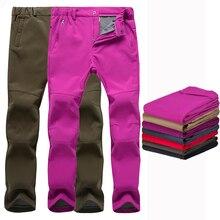 Зимние штаны, зимние утепленные флисовые лыжные штаны для мужчин и женщин, ветрозащитные рыбацкие походные лыжные брюки