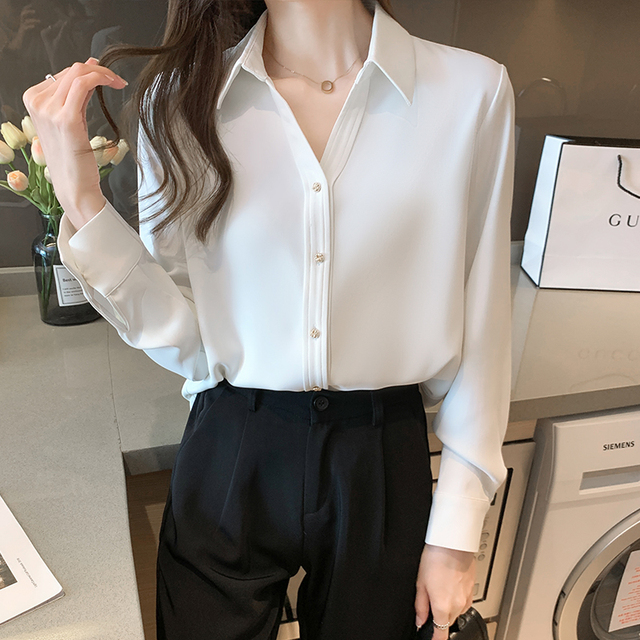 Spring Loose Temperament Vertical Sense Blouse Metal Buttons Fashion Women's Long-sleeved White High-end Satin Chiffon Shirt 1
