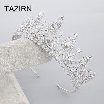 Western Design Zircon Tiaras Silver Headband Copper Wedding Headwear Bridal Headpiece Crowns For Pageant Party Bridal Jewelry
