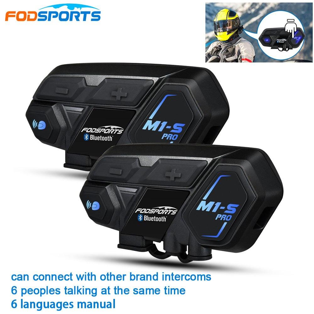 2 Pcs Fodsports BT Motorcycle Headset Helmet Intercom M1-S Pro 8 Riders 2000m Group Talk Moto Bluetooth Waterproof Interphone