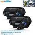 2 uds Fodsports BT casco de motocicleta intercomunicador M1 S pro 8 Riders 2000m Grupo hablar Moto Bluetooth interfono impermeable
