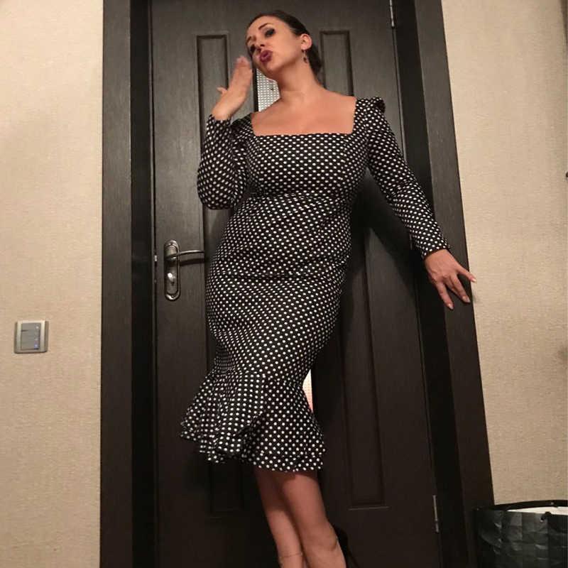 Sisjuly, черное, белое, в горошек, с длинным рукавом, макси, для женщин, осень, Ретро стиль, платья, тонкие, вечерние, Vestidos, бодикон, Русалка, платье (без пояса)