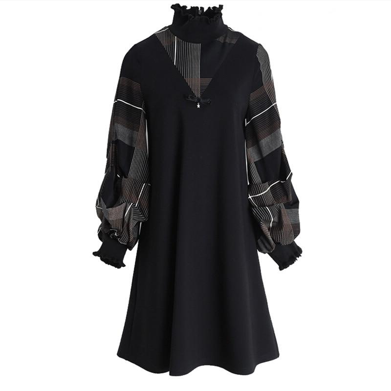 En gros nouveau confortable manches longues femmes robe col montant dame robe mode chaud genou longueur robe ample