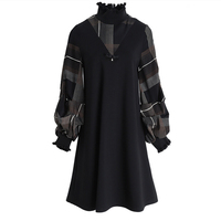 Wholesale New Comfortable Long Sleeves Women Dress Stand Collar Lady Dress Fashion Warm Knee length Loose Dress