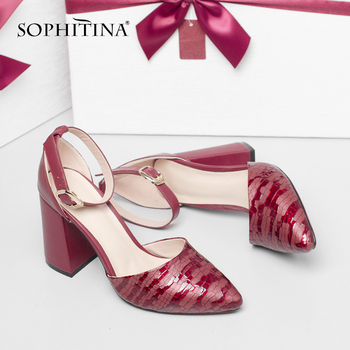SOPHITINA Fashion Design Sandals High Quality Cow Leather Comfortable Square Heel Mature Buckle Shoes New Women's Sandals MO396