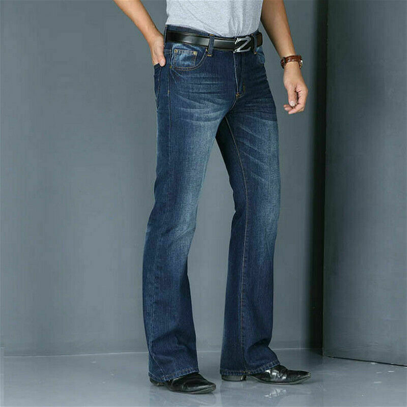 Men Bell Bottom Jeans Vintage 60s 70s Flared Denim Pants Hippie Regular Fit SPW Light Blue Dark Blue Jeans 923-586