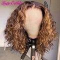 Luvin хайлайтер Омбре коричневые человеческие волосы Свободные глубокие волны фронтальные короткие боб парики для черных женщин цветной про...