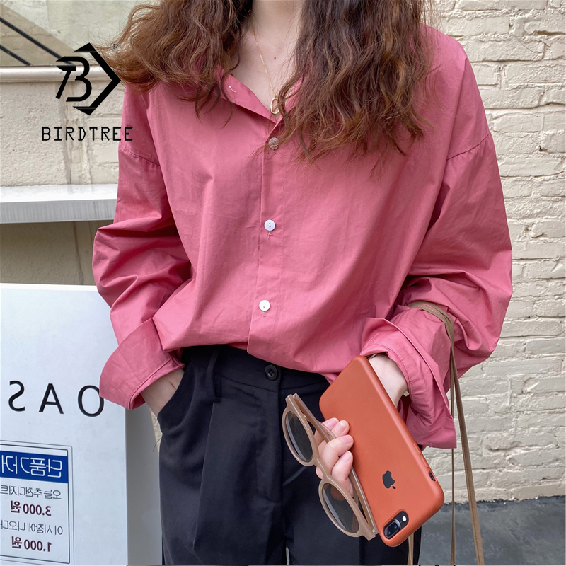 2020 New Arrival Women Vintage Oversized Blouse Batwing Sleeve White Shirt Casual Big Pockets Chic Tops Korean Style Blusa T0550