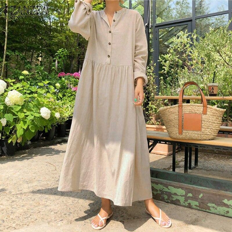 2021 Autumn ZANZEA Women Casual Solid Long Shirt Dress Pockets Long Maxi Vestidos Office Lady Work Cotton Dress Party Robe Femme
