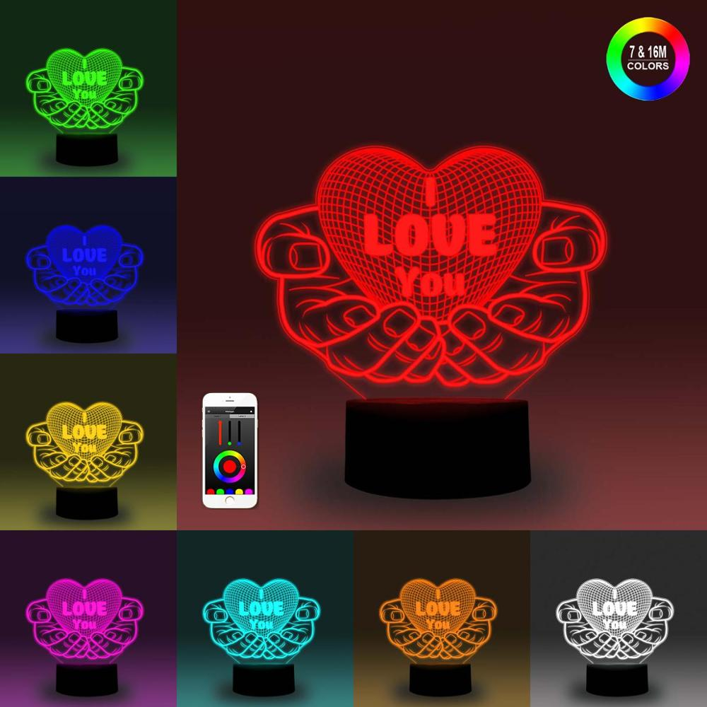 NiteApps 3D Boy And Girl's Love Night Light Desk Table Illusion Decoration Lamp Holiday Birthday Gift APP/Touch Control