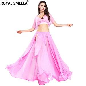 Image 5 - Gorąca sprzedaż kobiet seksowny zestaw do tańca brzucha taniec brzucha ubrania moda dziewczyny szyfonowa bellydance Top spódnice praktyka nosić