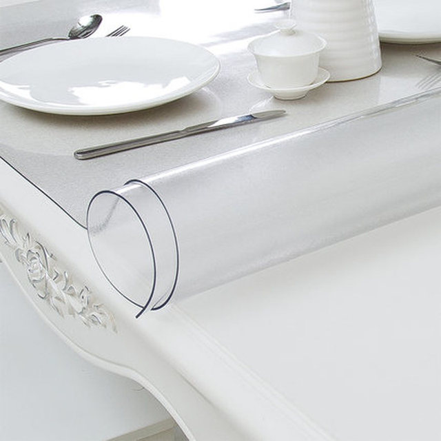 Soft Glass Tablecloth 1mm PVC Transparent Waterproof Rectangular Table Cover Pad