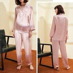 100% reiner Seide Frauen der Stickerei Pyjama Set Nachtwäsche Nachthemd M L XL YM006