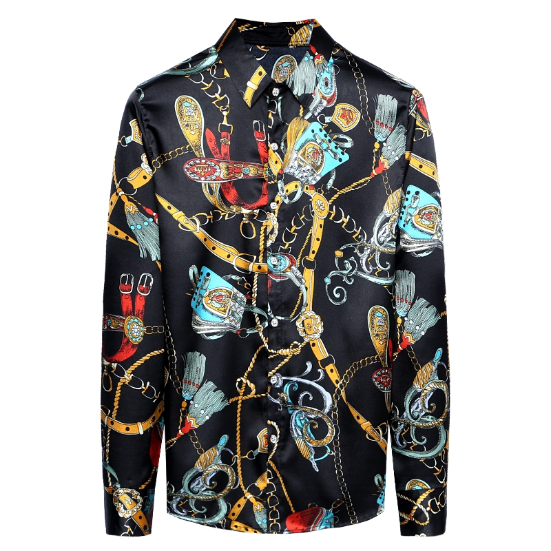 Chain Printed Silk Mens Fashion Dress Shirts Satin Mens Shirts Are Unusual Party Club Clothes For Mens Royal Vintage New Blouses