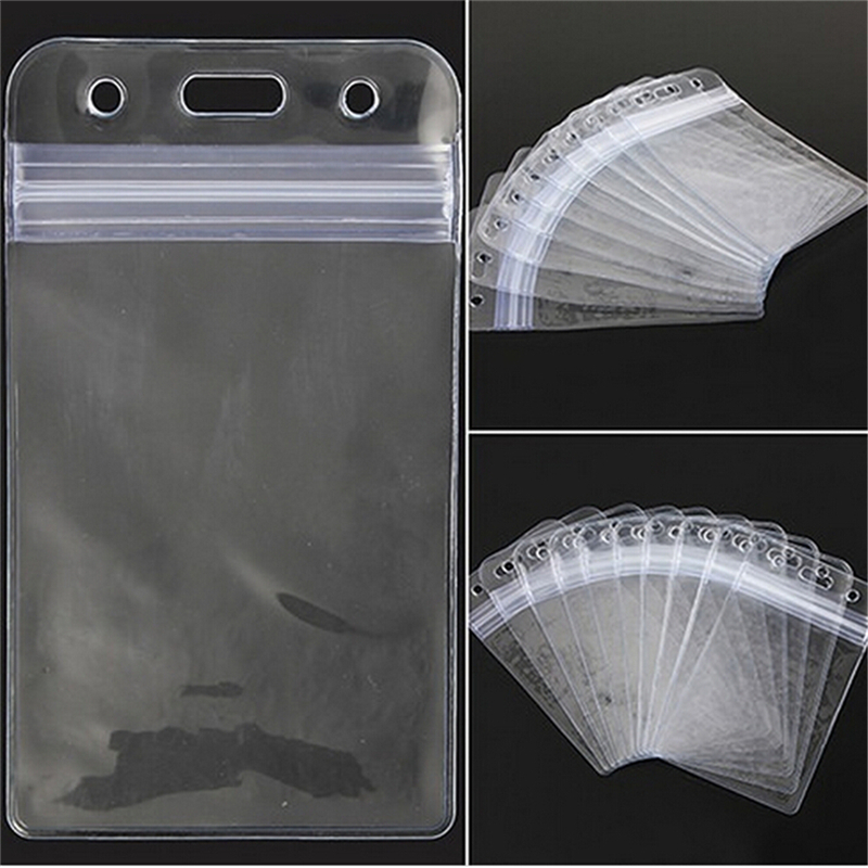 10 PCs Clear Transparent Plastic Vertical Waterproof Name Tag Zipper ID Card Holder Card-protector Office Supplies