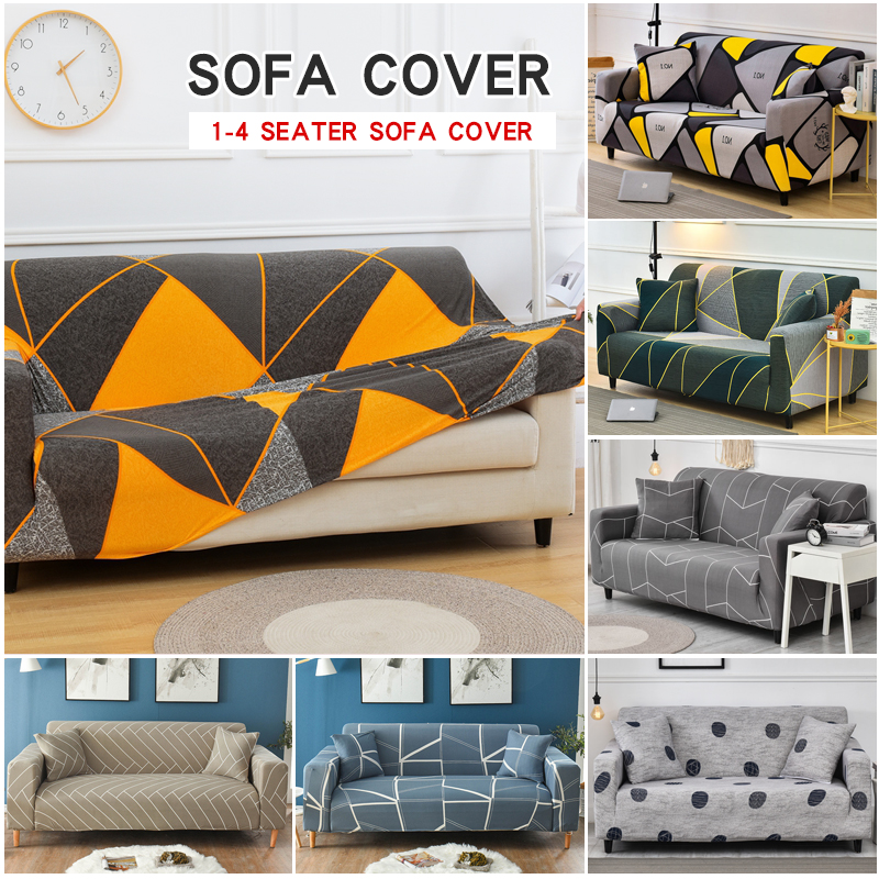 Geometric Twill Pattern Elastic Sofa Cover for Living Room Slipcovers Furniture Protector Stretch Polyester Armchair Couch Cover