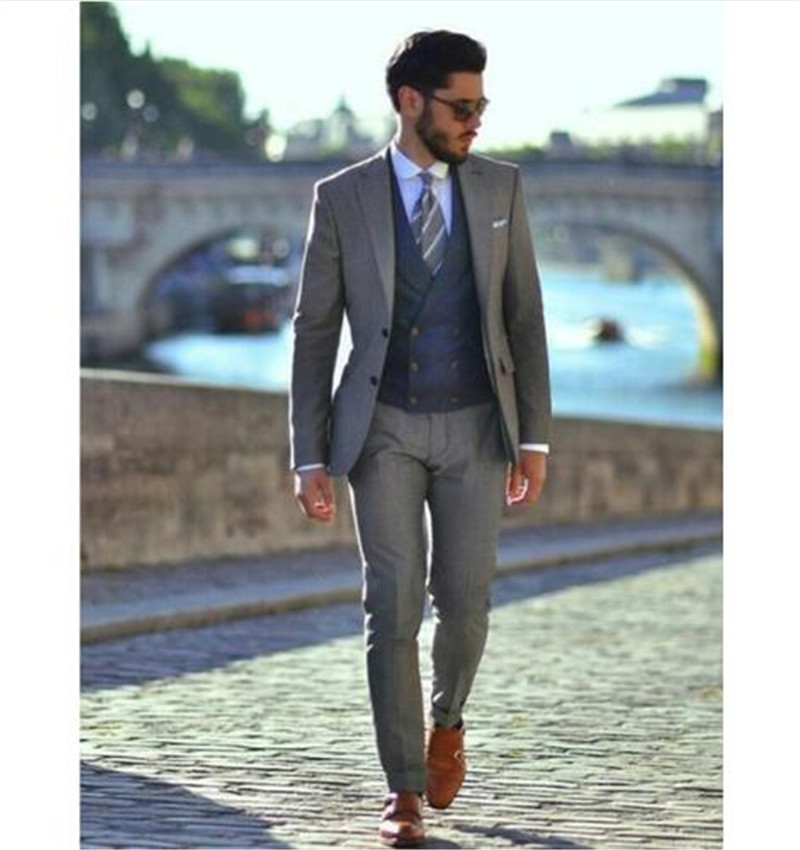 2020 New Designer Mens Suit Three Piece Two Buttons Wedding Tuxedos Slim Fit Custom Groom Formal Casual Suit (Jacket+Pants+Vest)